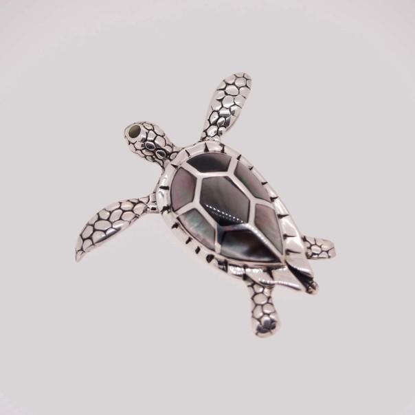pendentif-tortue-argent-nacre-grise-gs1018a