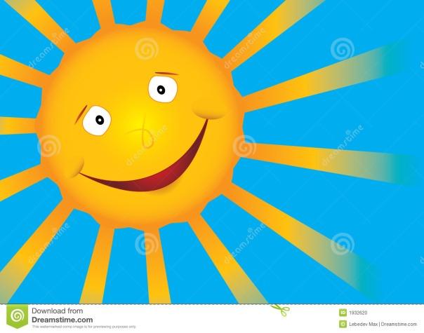 le-soleil-de-sourire-de-vecteur-sur-le-ciel-bleu-1932620