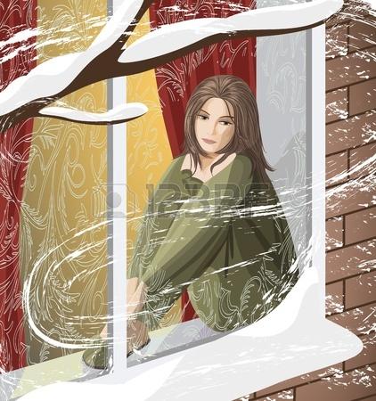 11849703-la-jeune-femme-triste-assis-sur-le-rebord-de-la-fenetre-regardait-la-rue-couverte-de-neige