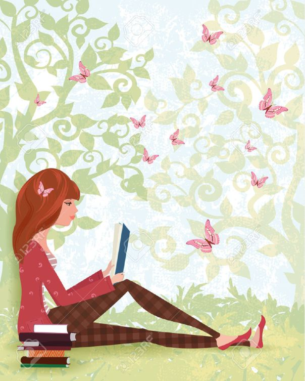 45687460-cute-girl-est-en-train-de-lire-un-livre-sous-l-arbre-avec-la-pile-de-livres-for-t-de-printemps-avec-banque-dimages