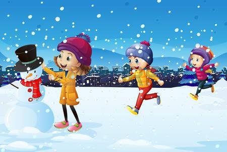 67369998-trois-enfants-jouant-dans-le-champ-de-neige-illustration