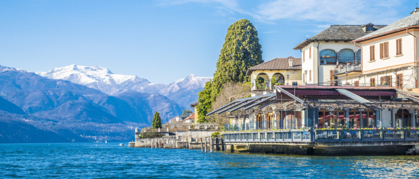 View of Piazza Motta in Orta San Giulio from a Taxi boat, Lake Orta, Piedmont, Italy